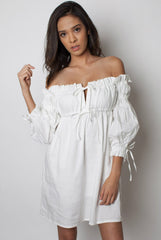 Off Shoulder White Dress - Miss Edgy