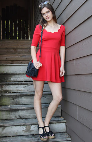 Off shoulder mini dress in red - Miss Edgy