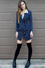 Slim Fit Striped Blazer - Miss Edgy
