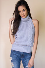 Sleeveless Turtleneck Sweater in Baby Blue - Miss Edgy
