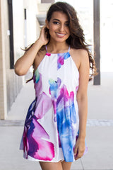 Sweetheart Watercolor Print Romper - Miss Edgy