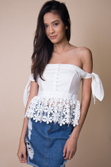 Alice Off the Shoulder Lace Top in White - Miss Edgy