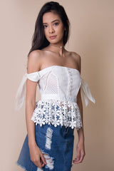 Alice Off the Shoulder Lace Top in White