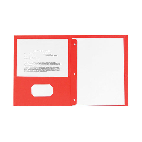 2 POCKET FOLDERS W/FASTENERS 1/2   CAP LETTER RED PK/25