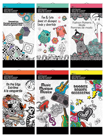 ART ZONE COLORING PAD 11 X 17 IN ASST SET OF 6