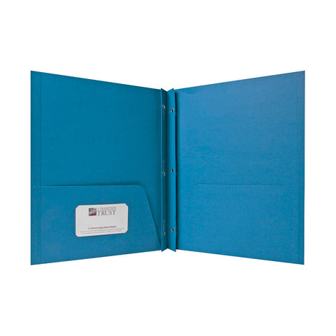 2 POCKET FOLDERS W/FASTENERS 1/2   CAP LETTER LIGHT BLUE PK/25