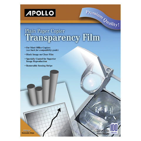 FILM TRANSPARENCY 8.5X11 BLACK/CLR APOPP100C PACK OF 100