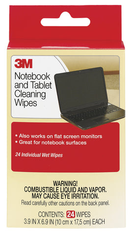 WIPES-3M NOTEBOOK SCREEN CLEANING WIPES CL630- 6 X 6.25 X 1 24-PK