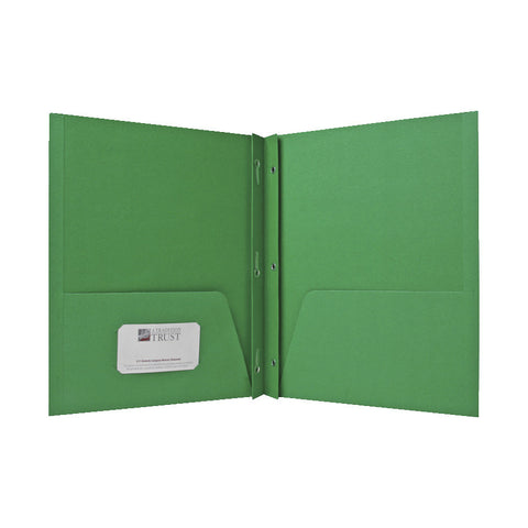 2 POCKET FOLDERS W/FASTENERS 1/2'' CAP LETTER GREEN