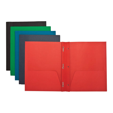 2 POCKET FOLDERS W/FASTENERS 1/2   CAP LETTER ASSORTED PK/25