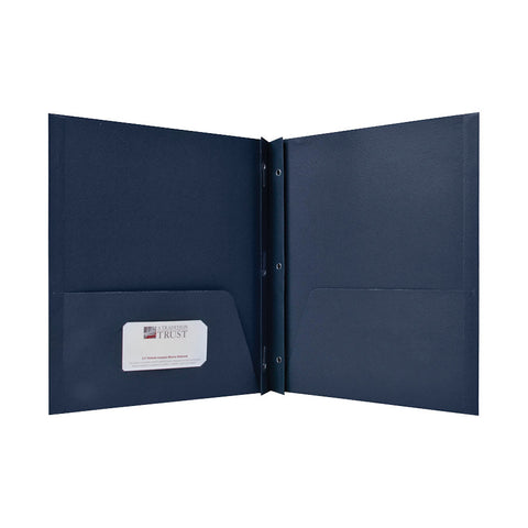 2 POCKET FOLDERS W/FASTENERS 1/2'' CAP LETTER DARK BLUE