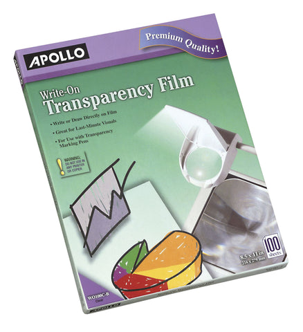 FILM TRANSPARENCY WRITE ON 8.5X11 APOWO100CB PACK OF 10