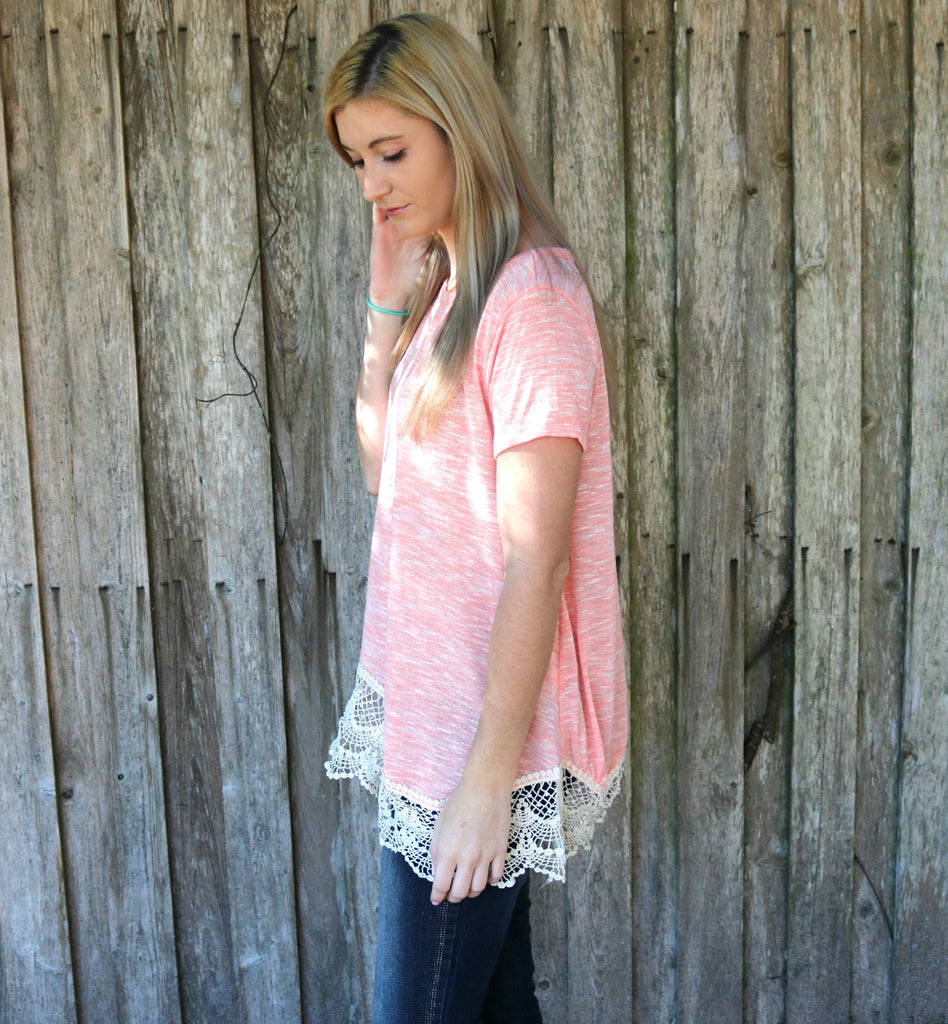 Peach Please Lace Tee