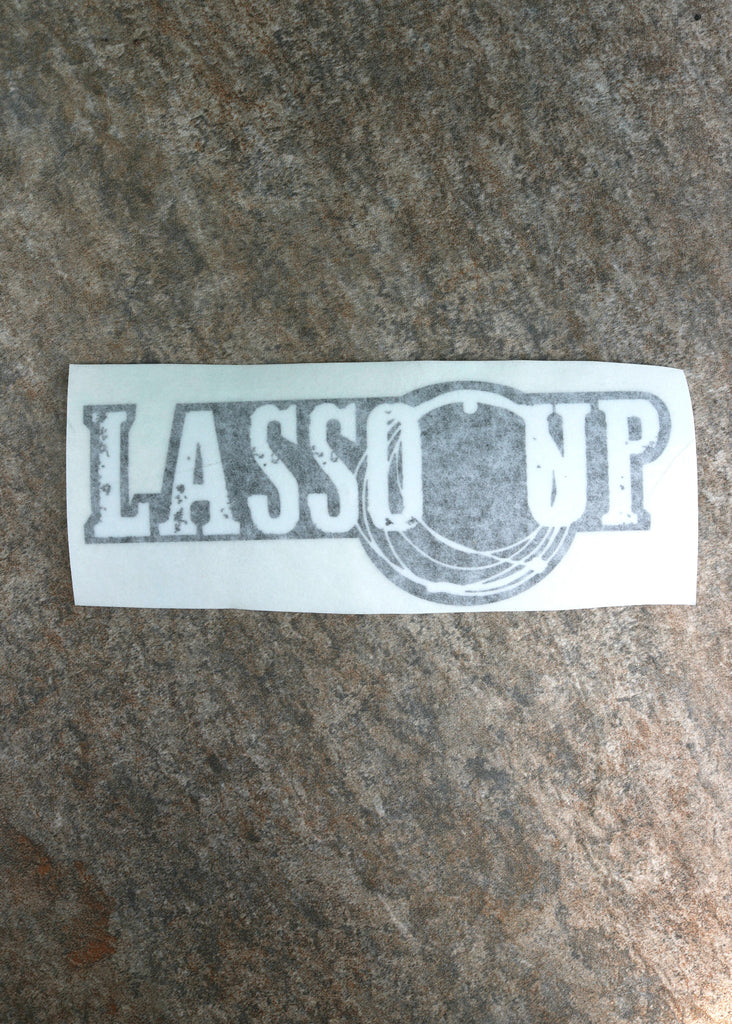 Lasso Up Decal White On Black