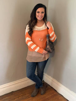 CREAM/ORANGE/TAUPE LIGHT WEIGHT SWEATER
