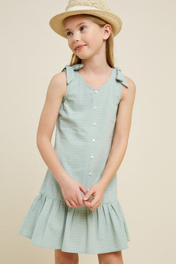 KIDS SEAFOAM TIERED BUTTON DRESS