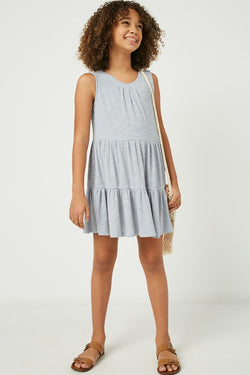 KIDS GREY TIERED KNIT DRESS