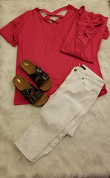 FUCHSIA V NECK W/ CRISS CROSS BACK