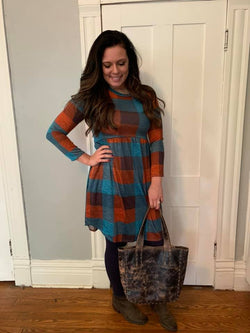 TEAL/RUST CHECK DRESS