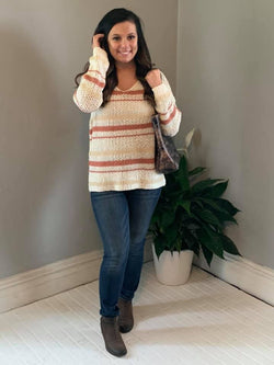 IVORY/MAUVE STRIPED OPEN WEAVE SWEATER