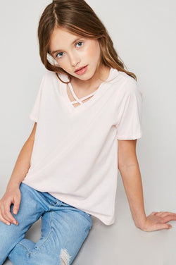 KIDS PALE PINK CRISS CROSS TOP