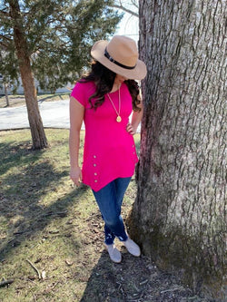 HOT PINK DOUBLE BUTTON TOP