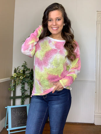 TIE DYE SHEER KNIT TOP