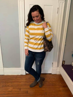MUSTARD/WHITE STRIPED TOP