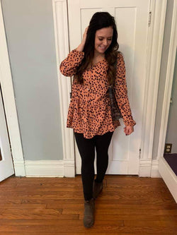 RUST/BLACK ANIMAL PRINT RUFFLE TOP