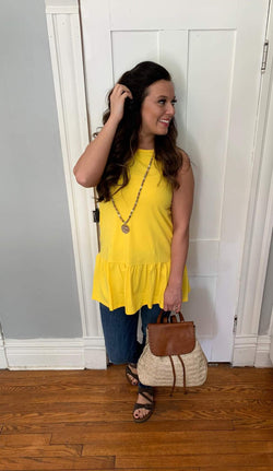 BUTTON BACK RUFFLE SLEEVELESS TUNIC