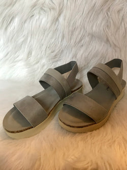 PEWTER WEDGE SANDAL