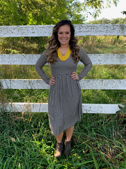 TAUPE/BLACK STRIPED BABYDOLL DRESS