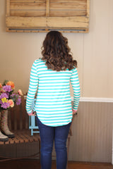 GREEN/PINK STRIPED TOP