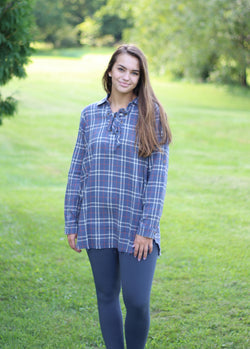 BLUE FLANNEL W/ LACE UP NECK