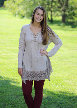 MOCHA RIBBED LACE TUNIC