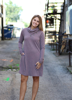 MOCHA SWEATER DRESS W/ BUTTONS