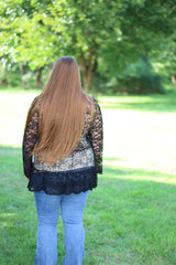 BLACK LACE TOP W/ NUDE LINING
