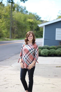 MAUVE PLAID TOP W/ KNOT SLEEVES