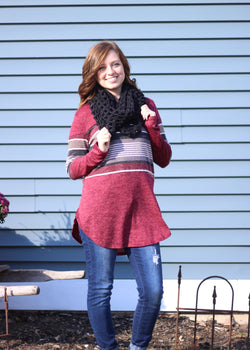 BURGUNDY & BLACK STRIPED LONG SLEEVE TOP