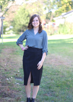 Black Suede Pencil Skirt