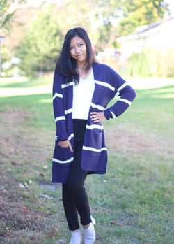 Navy/White Striped Cardigan