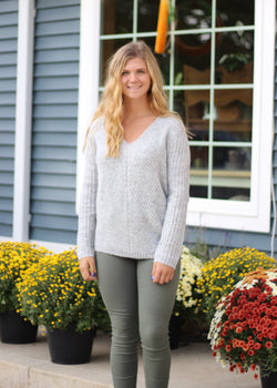 GREY V NECK AND V CUT BACK SWEATER