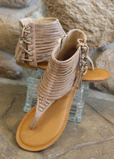 Tan Caged Sandal - Brooch Boutique