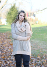 CHAMPAGNE COWL NECK SWEATER WITH BUTTONS