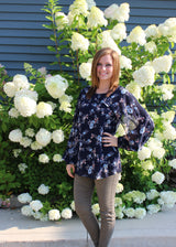 Navy Open Sleeve Floral Top - Brooch Boutique