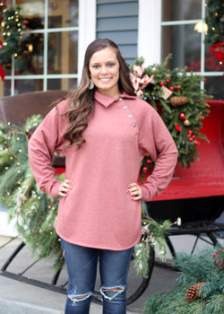 Marsala Button Neck Top
