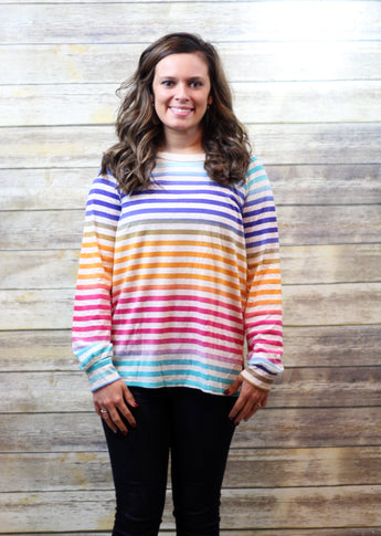 BRIGHT MULTI COLOR STRIPE TOP