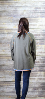 OLIVE THERMAL TOP W/ BLUE