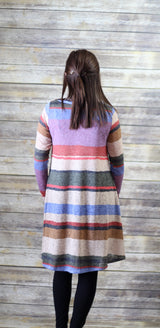 LONG SLEEVE MULTI COLOR STRIPE DRESS