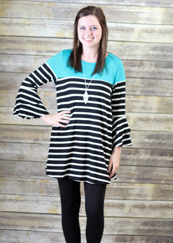 TURQOUISE AND BLACK & WHITE STRIPE TUNIC